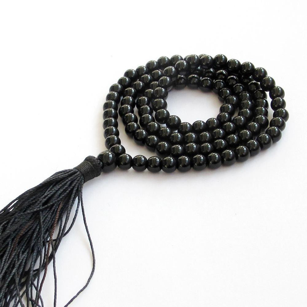 Hot sell ->@@ AAAA 8mm Black Agate Tibetan Buddhist 108 Prayer Beads Mala Necklace A+008 -Top quality free shipping