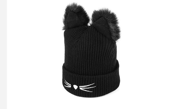 EMPOWER Cat Ears Black Beanie Winter Hat