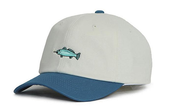 Blue and White 'Smoking Fish' Cap