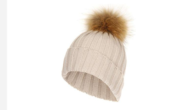 MAKEFGE Raccoon Pom Pom Beanie Winter Hat