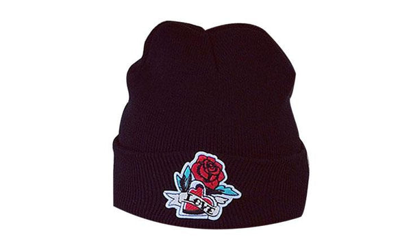 KANCOOLD 'Rose Design' Black Skully Winter Hat