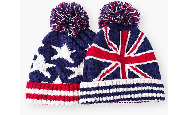 SIMPLESHOW UK/US Flag Design Beanie Pompom Winter Hat