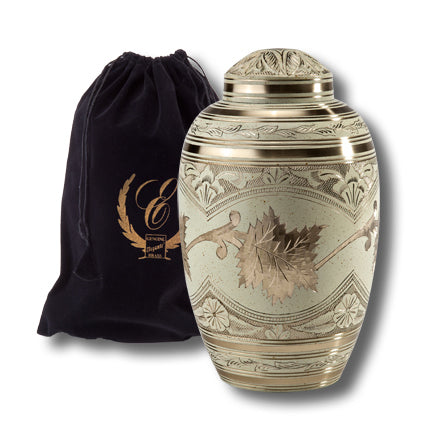 Cream Wash Leaf Urn