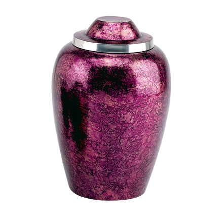 Burgundy Plum Alloy Urn 10""