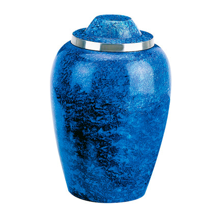 Cobalt Blue Alloy Urn 7""