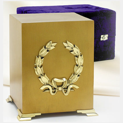 Brass Wreath Cube Urn