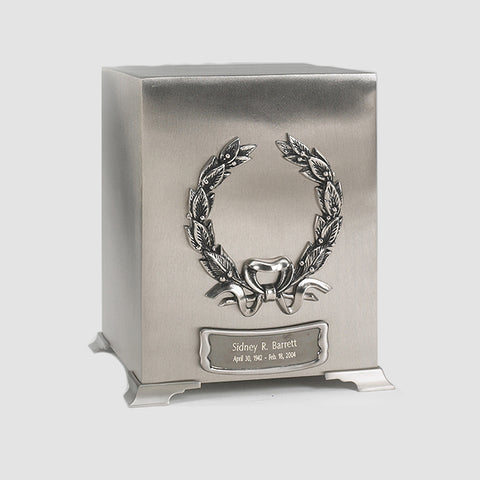 Platinum Wreath Cube Urn with Urn Medallion