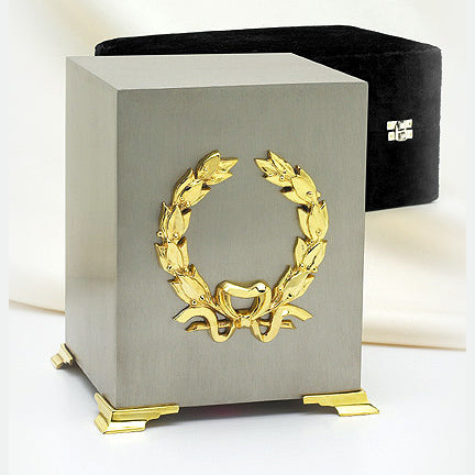 Two-Tone Trims Pewter Finish Cube Urn