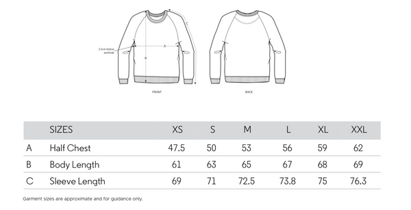 Voltage Sport Women's Sweatshirt Size Guide
