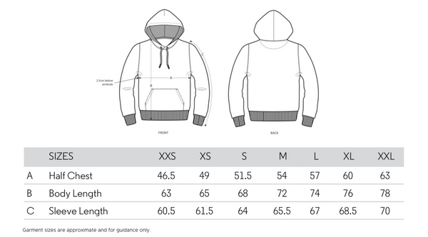 BOLT VOLTAGE SPORT HOODIE SIZE GUIDE