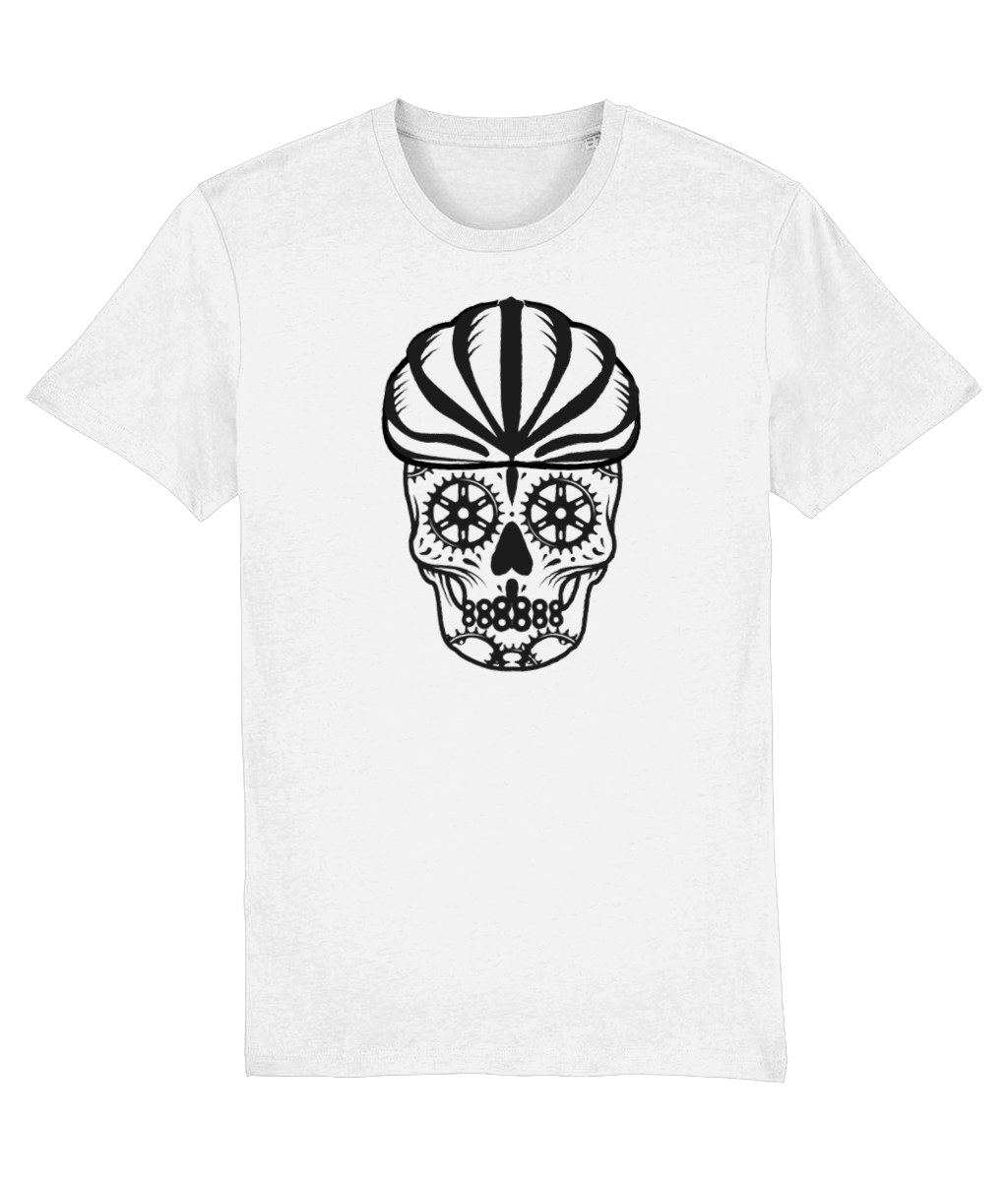 Cyclist B&W Sugar Skull T-Shirt