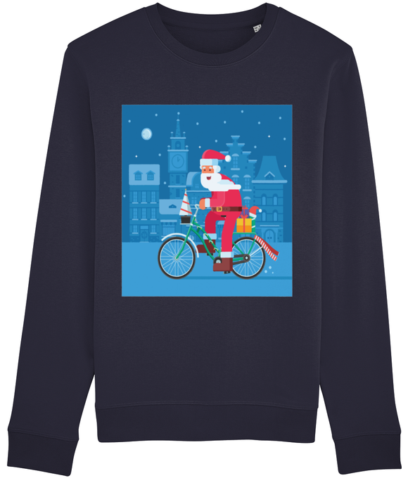 Santa on a Bike Men's Christmas Sweatshirt