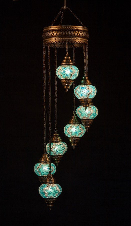 Turkish mosaic 7 globe chandelier lamp lamptastic aloadofball Image collections