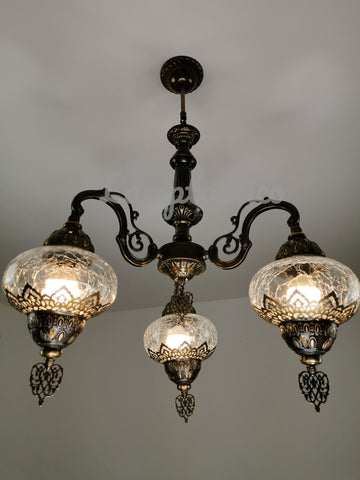 Turkish Crackled Glass Chandelier, Ceiling Light, Pendant, Lighting Fixture