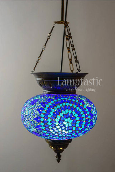 Large Blue Turkish Moroccan Lantern Lamptastic
