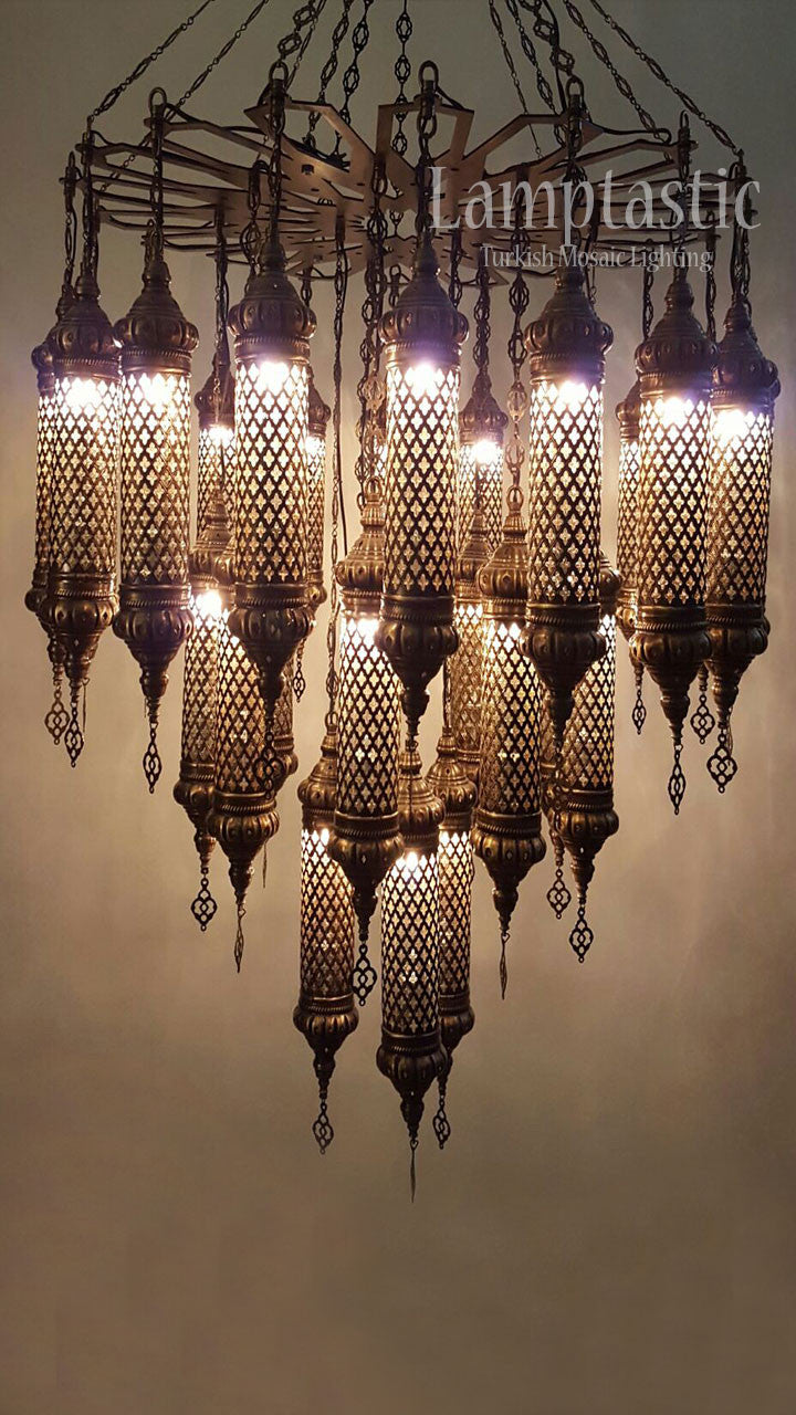 Large Brass Chandelier Lighting Fixture
