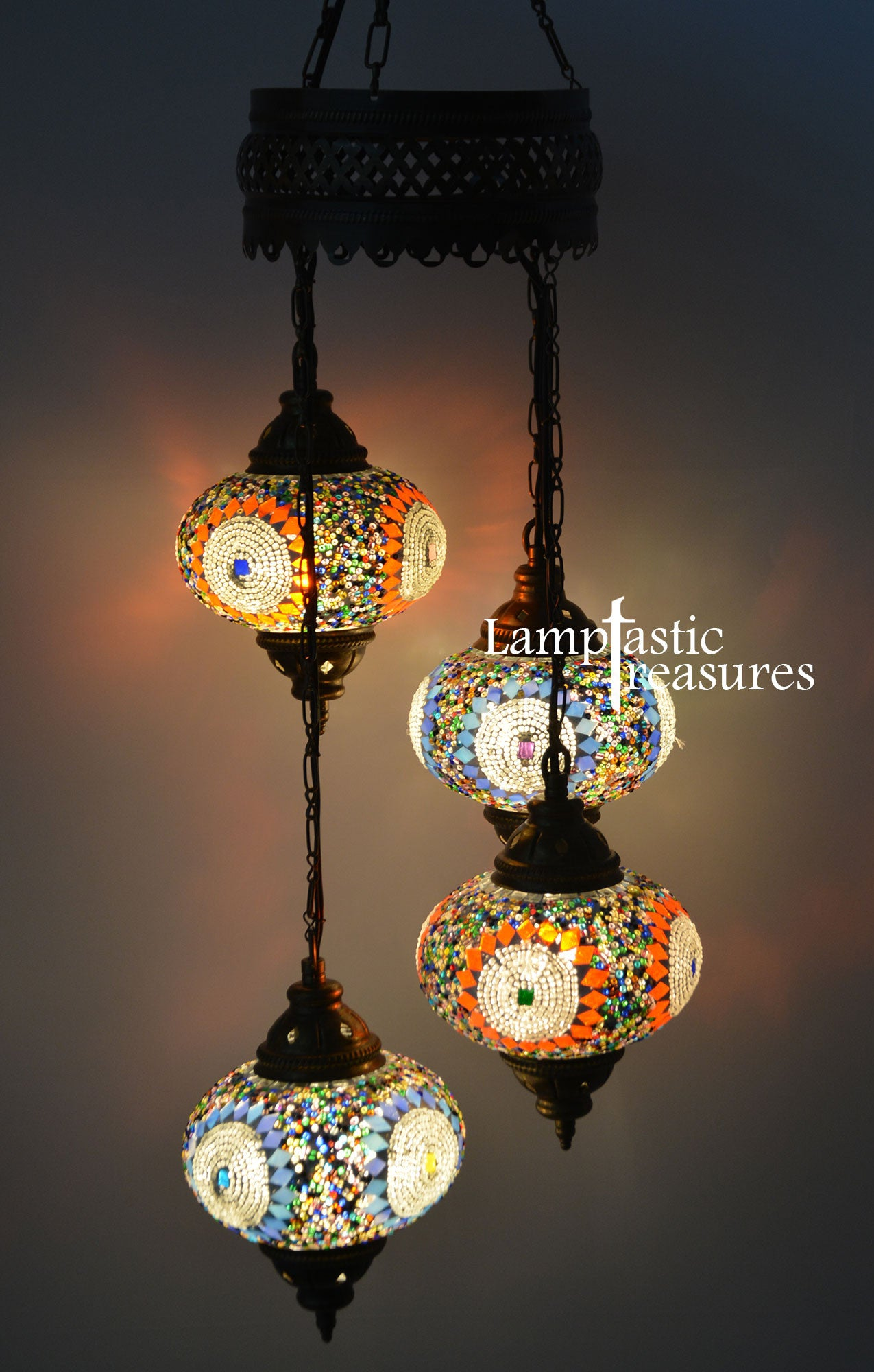 Turkish Mosaic 4 Globe Chandelier Lamp – Lamptastic