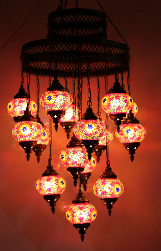 Turkish mosaic 15 globe chandelier lamp lamptastic turkish lamps turkish lamp turkish mosaic lamps turkish lighting lamps turkish aloadofball Image collections