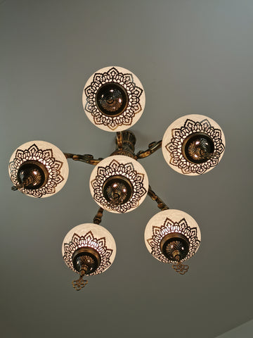 5 Arm Turkish Crackle White Sandy Glass Chandelier, Ceiling Light, Pendant, Lighting Fixture