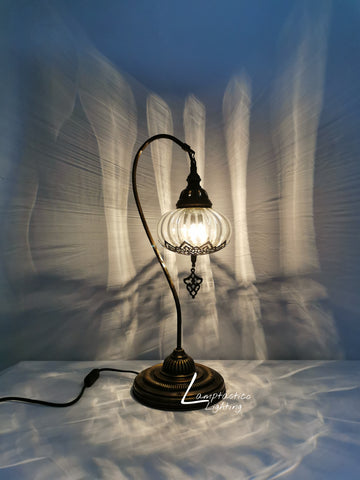 Luxurious Large Turkish Moroccan Style Swan Neck Clear Blown Glass Table Lamp