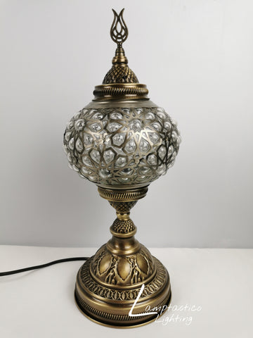 Luxurious Turkish Moroccan Blown Pressed Glass Table Lamp