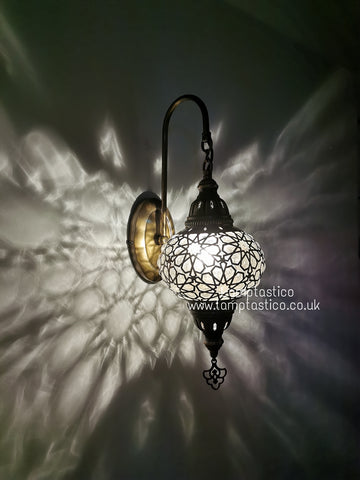 Turkish Single Laser Glass Oval Wall Light Brass Finish