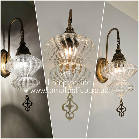 Turkish Single Ribbed Clear Glass Oval Wall Light