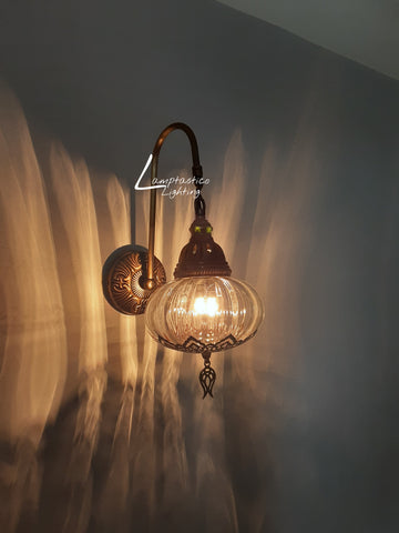 Turkish Single Blown Clear Glass Round Wall Light