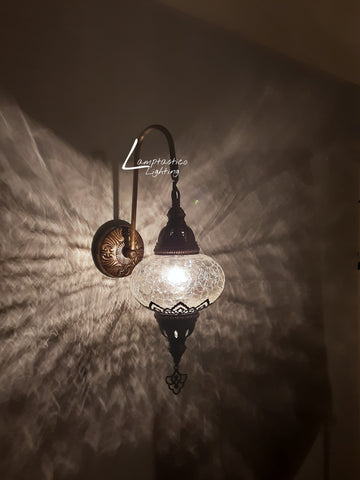 Turkish Single Crackle Clear Glass Round Wall Light