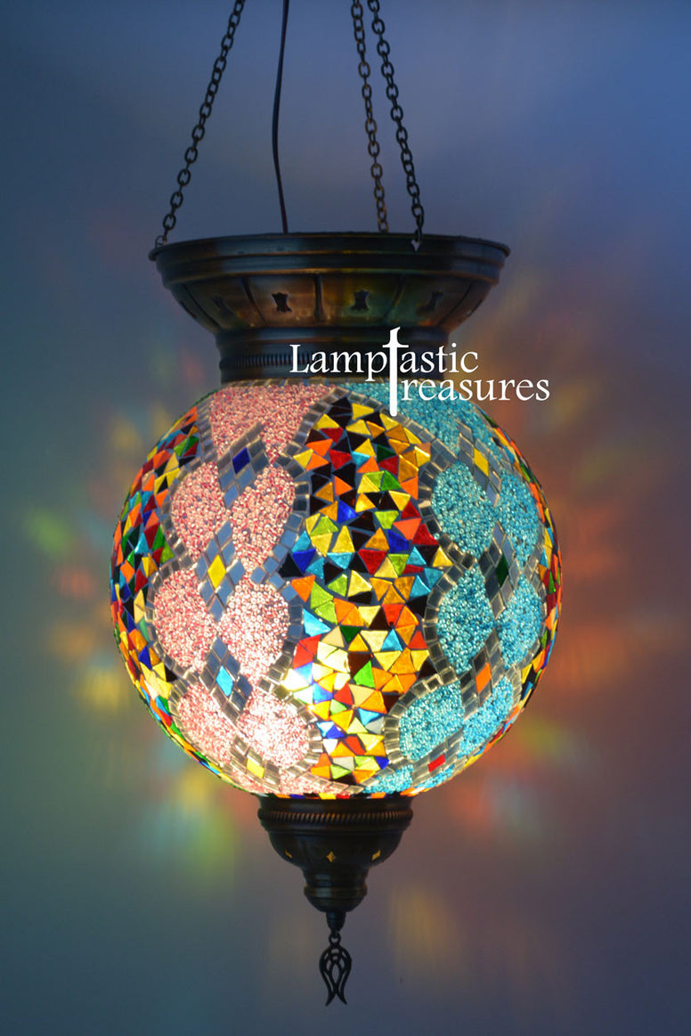 Handmade Mosaic Turkish Large Globe Lantern