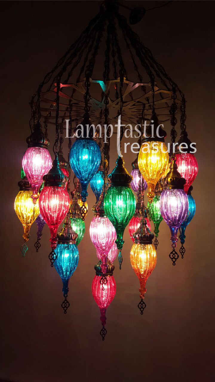 Turkish handmade 25 globe blown colourful chandelier ottoman lamp turkish handmade 25 globe blown colourful chandelier ottoman lamp aloadofball Image collections