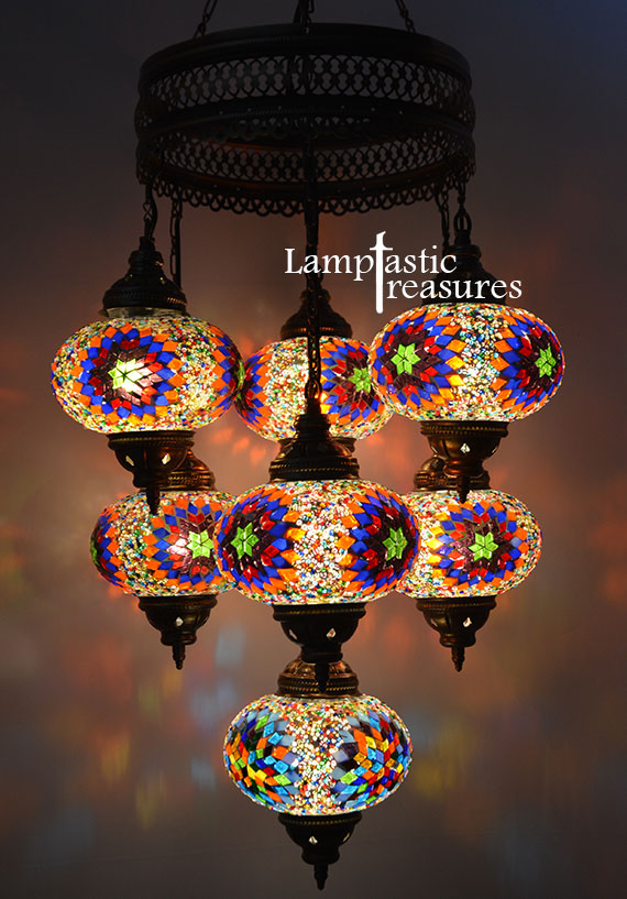 7 Globe Turkish Mosaic Chandelier