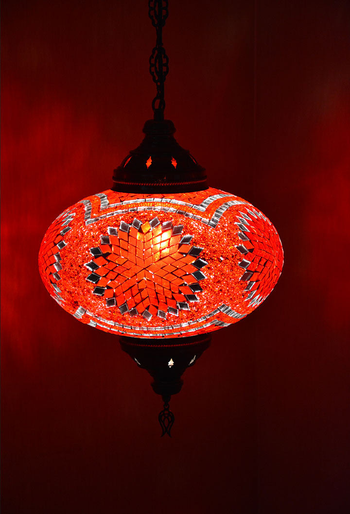Large red glass tiffany style moroccan mosaic hanging lamp large red glass tiffany style moroccan mosaic hanging lamp aloadofball Choice Image