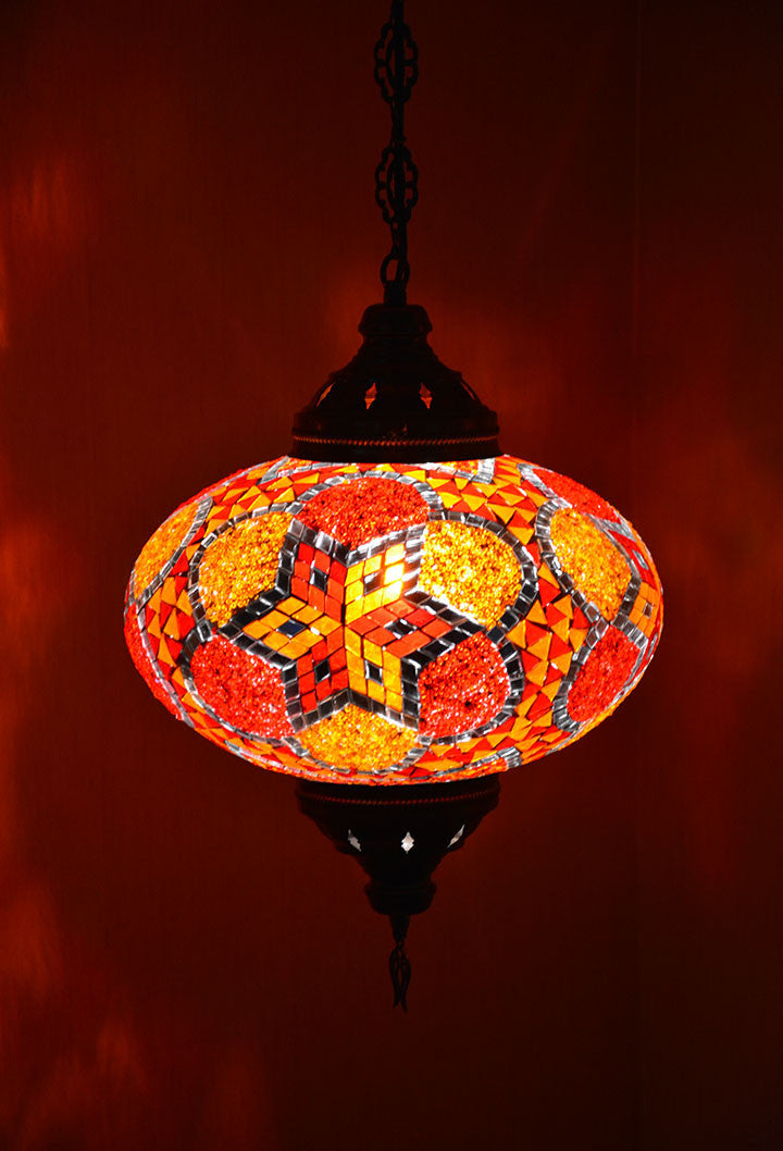 Large orange tiffany style moroccan hanging lamp lamptastic mozeypictures Image collections