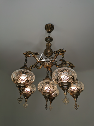5 Arm Turkish Crackle Glass Chandelier, Ceiling Light, Pendant, Lighting Fixture