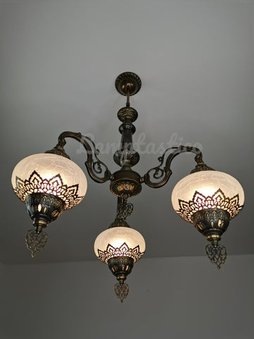 Turkish White Crackle Glass Chandelier, Ceiling Light, Pendant, Lighting Fixture