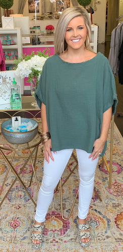 Gauze Tunic in Hunter Green