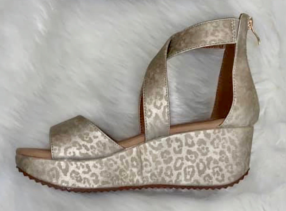 Gold Leopard Wedge