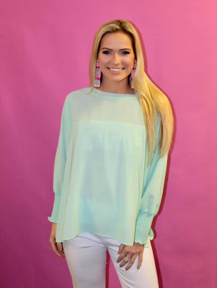 sheer tunic in mint