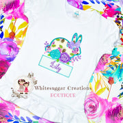 Floral Bunny Personalized Shirt Girls Shirt Whitesuggar Creations