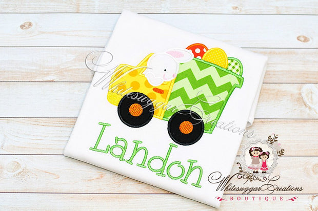 Easter Bunny Driving Eggs Truck Shirt - Whitesuggar Creations Boutique