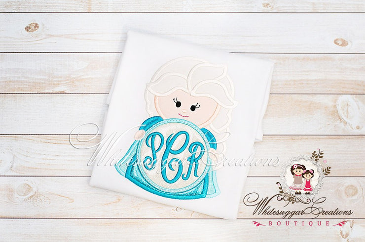 Elsa Inspired monogrammed Shirt Whitesuggar Creations