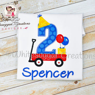 Boys wagon birthday shirt