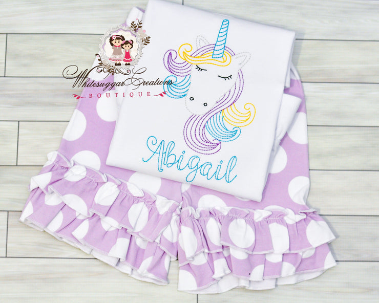 Vintage Stitches Unicorn Outfit Girls Shirt Whitesuggar Creations
