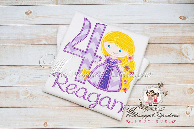 Princess as Rapunzel Birthday Shirt - Whitesuggar Creations Boutique