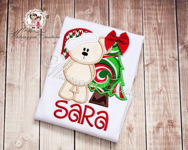 Santa Bear Christmas Tree Shirt Whitesuggar Creations Boutique