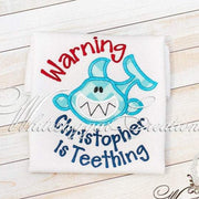 Warning I'm Teething Shark Shirt Whitesuggar Creations Boutique