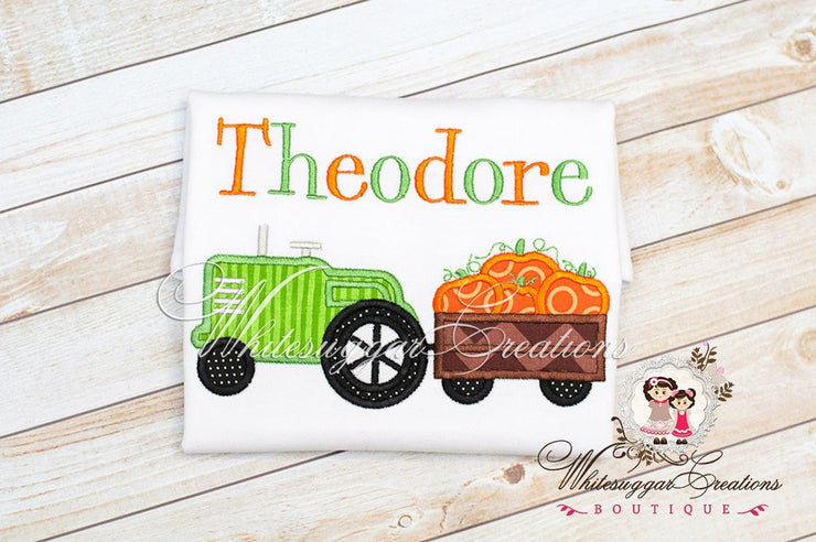 Halloween Tractor with Pumpkin Wagon Shirt - Boys T-Shirt or Bodysuit