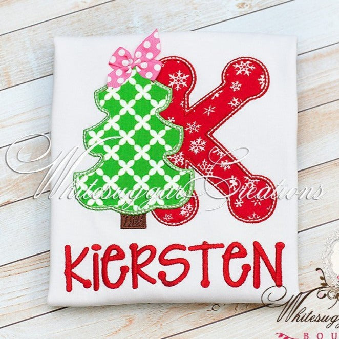 Christmas Tree Alphabet Embroidered Shirt - Whitesuggar Creations Boutique