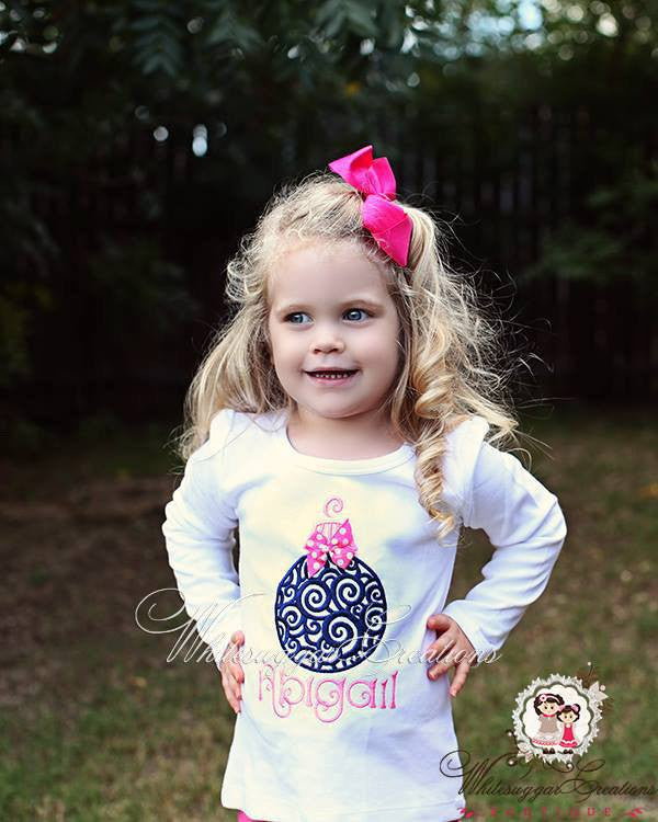 Girls Christmas Scrolls Ornament Shirt Whitesuggar Creations Boutique